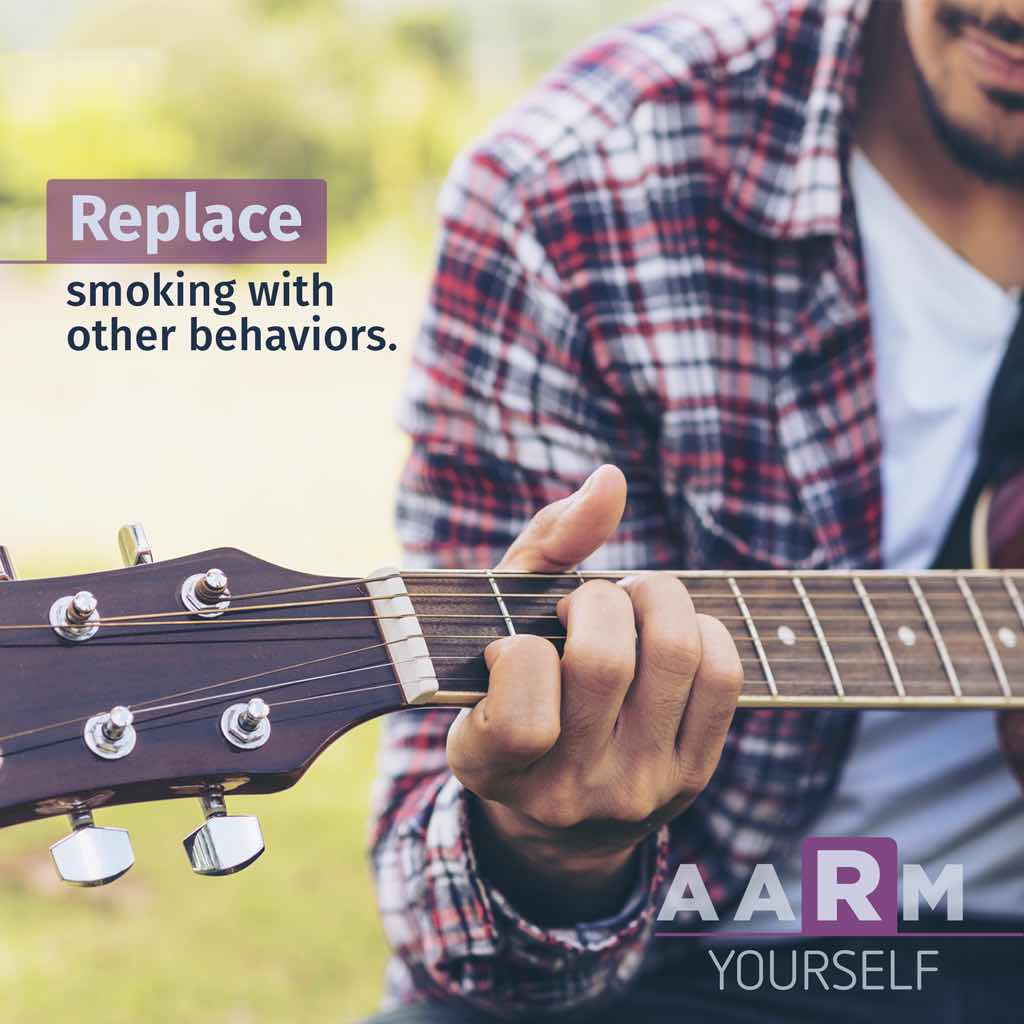 "Young man playing guitar with text saying ""replace smoking with other behaviors"" and acronym ""AARM yourself"""