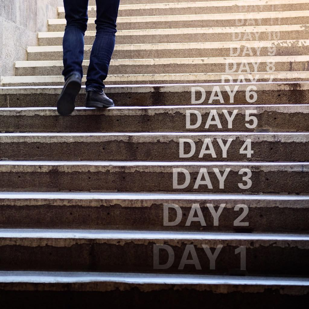 Person walking up steps with text on each step numbering the days as they climb higher