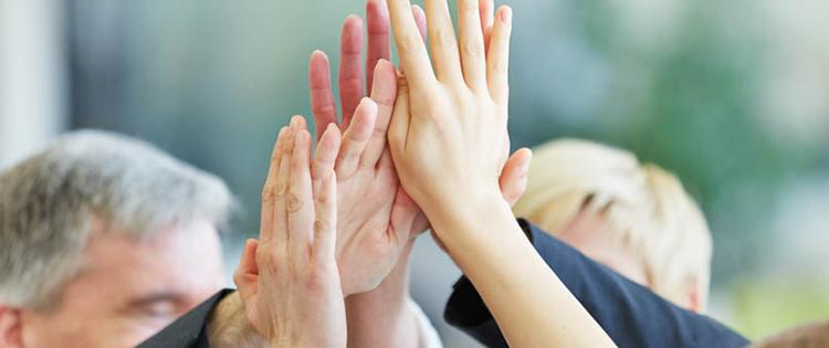 Photo of severals adults' hands high fiving.