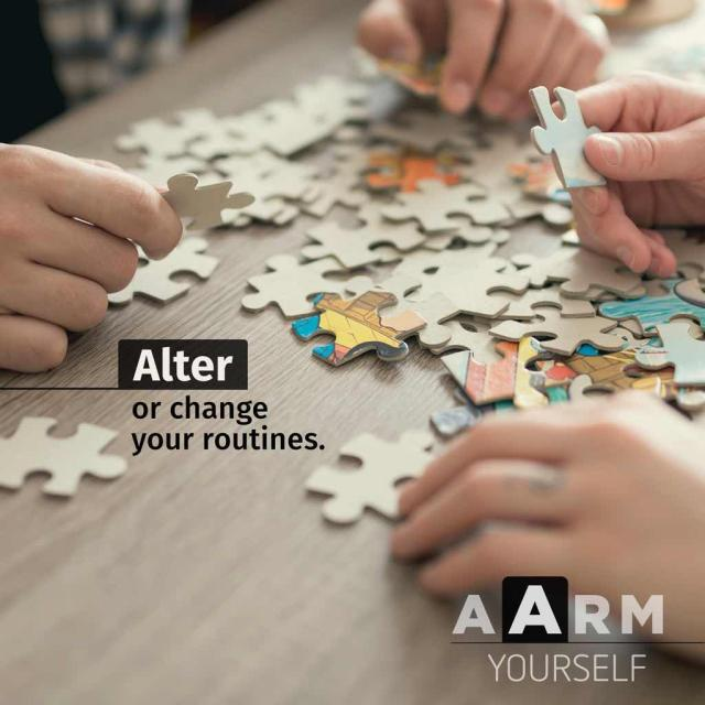 "Two people putting together a puzzle with text saying ""alter or change your routines"" and with the acronym A A R M"
