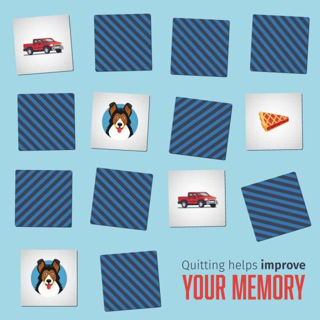 "Memory matching game with a group of cards showing a few face up with text saying ""quitting helps improve your memory"""