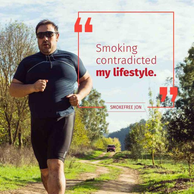 "Man running on path on a sunny day with a quote saying ""smoking contradicted my lifestyle"" from smokefree jon"