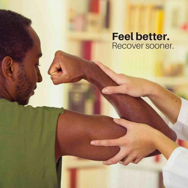 "Man flexing right arm while doctor's hands examine arm with text saying ""feel better recover sooner"""