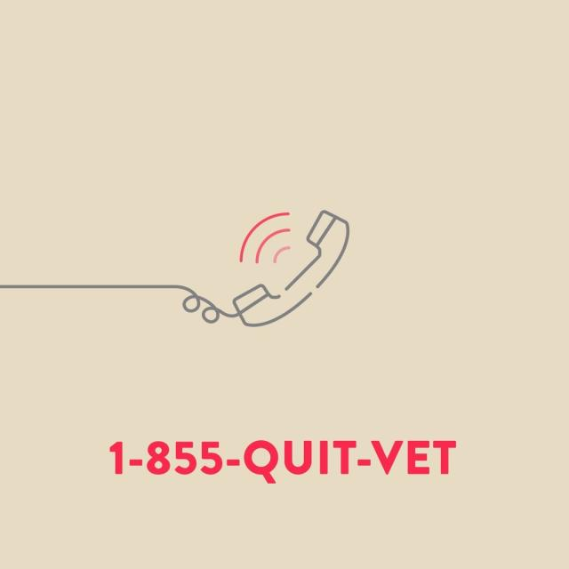 animated phone with quitline phone number 1 8 5 5 Quit Vet