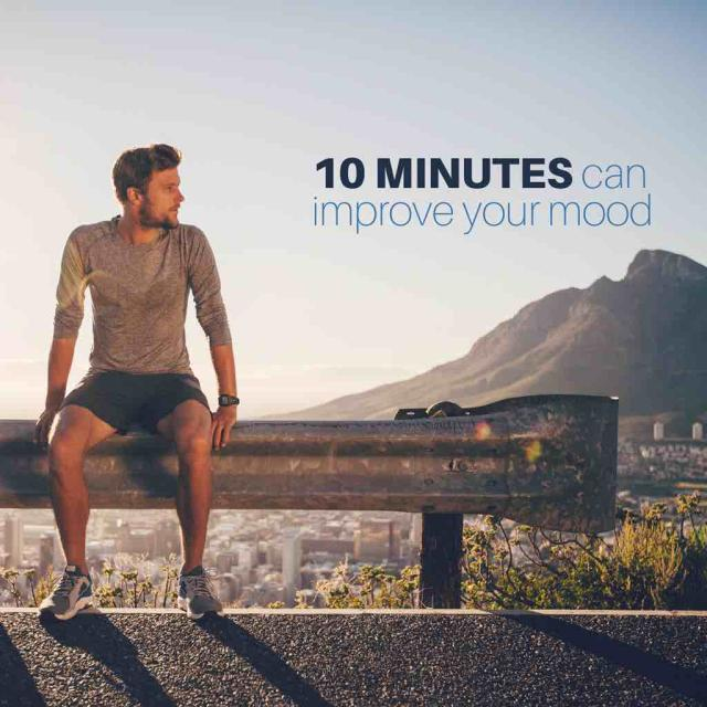 "Male runner sitting on bench with text saying ""10 minutes can improve your mood"""