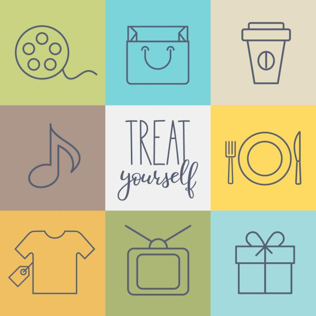"nine small images of a film reel, a purse, a coffee cup, a music note, a dinner plate, a new shirt, a television, and a gift box with text saying ""treat yourself"""