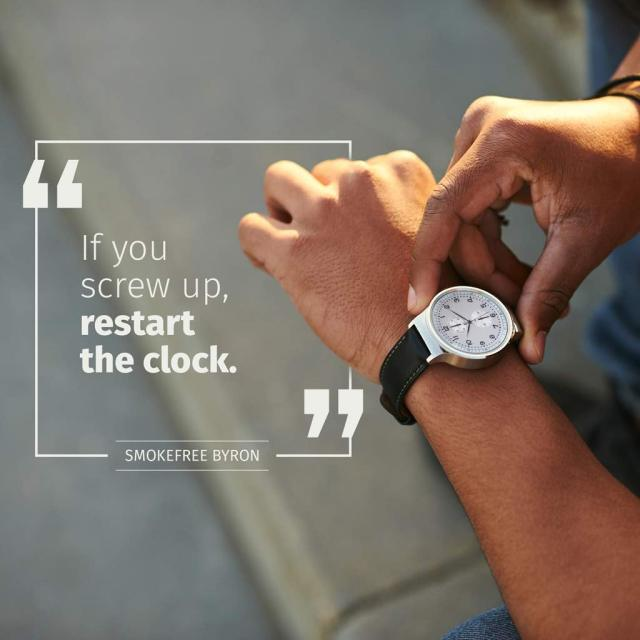 person setting watch with text saying if you screw up restart the clock""